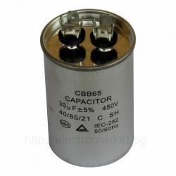Работен кондензатор за климатик 30µF, тип CBB65, 450V