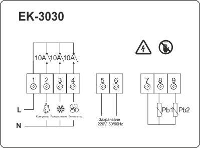 Схема на свързване на температурен контролер ЕК-3030