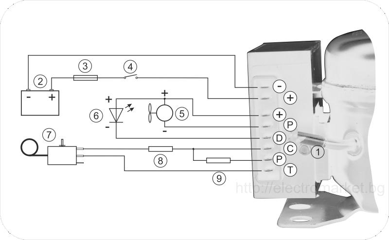 Схема на свързване на постояннотоков компресор QDZH35G за яхта, каравана, камион, автобус и др.